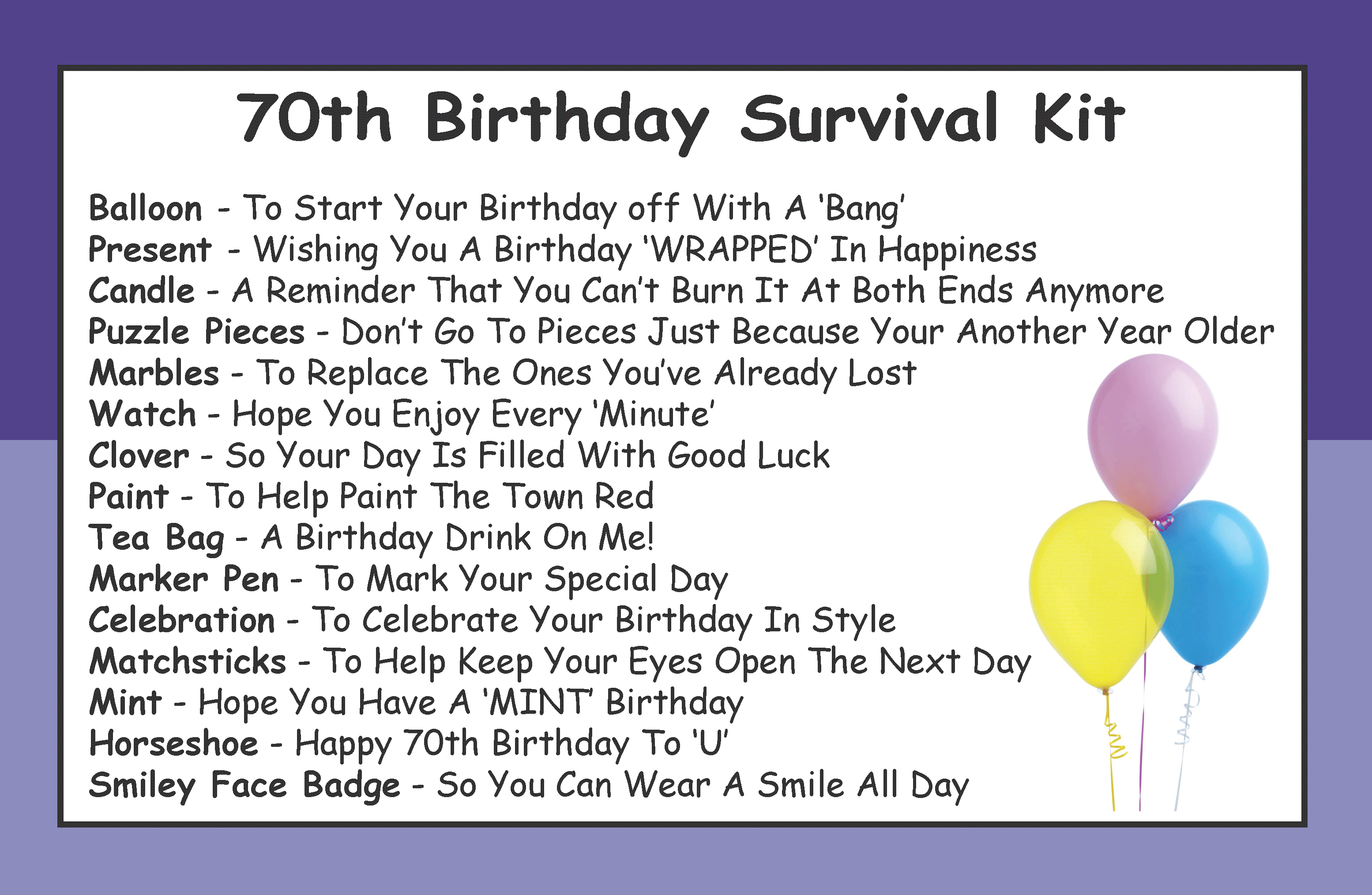 70th Birthday Survival Kit In A Can